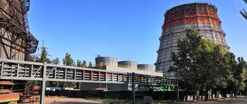 Самая большая в Украине вентиляторная градирня