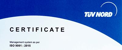 Получен международный сертификат ISO 9001:2015